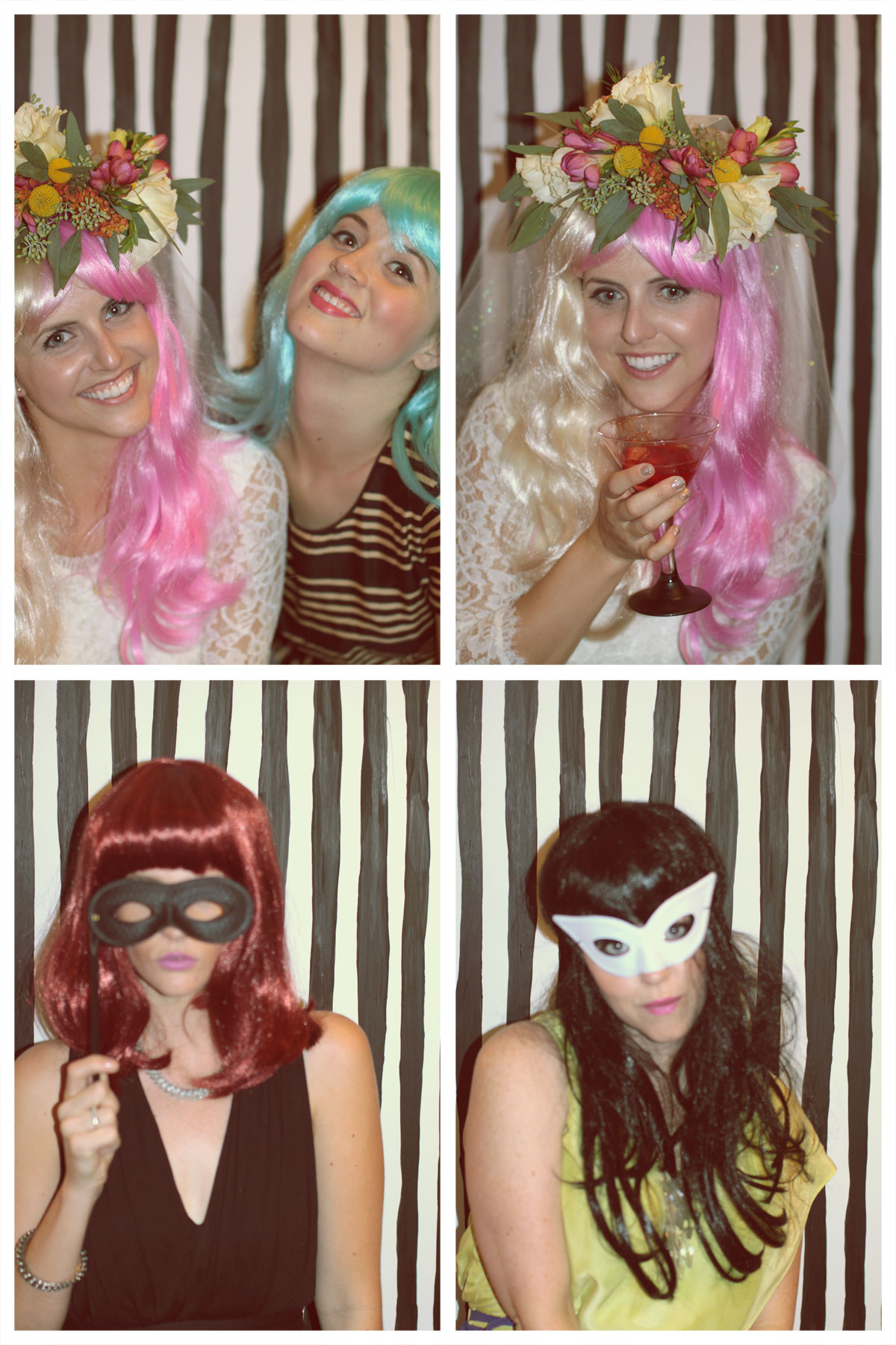 Here is a highlight from the photobooth we set up at the party!  The bride is sportin' the pink wig and flower crown!  Everyone looked amazing and had so much fun in their wigs and masks!  Can't wait for the wedding this weekend!