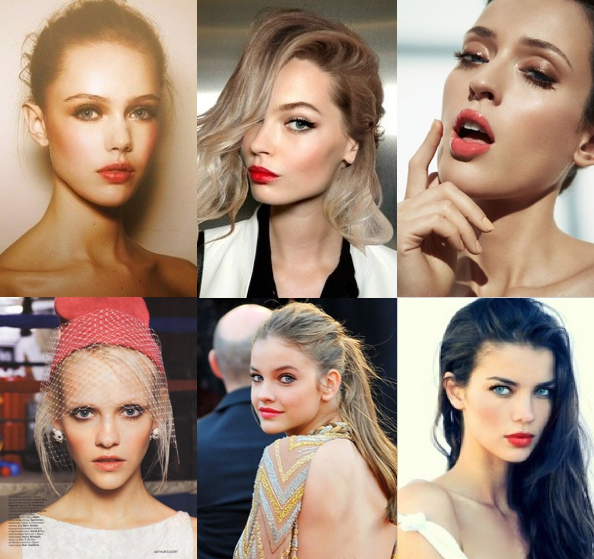 These are some modern makeup looks that we love to see on brides! Get away from those dusty rose lips! Coral is an amazing color choice on everyone- it brightens your complexion right up!   One of my personal affordable favorites is Coral Crush from the Maybelline Color Sensation line.