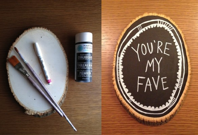Haven't figured out what to do for your lover or friend for Valentine's day? Here's the supplies you need to make a great Valentine that they'll be proud to display.  - wood slice (you can get these at any craft store) - black acrylic or chalkboard paint - sharpie white paint pen - a fine and thicker paint brush I would recommend two coats of paint to assure that the background is opaque. Make sure to shake up the paint pen so it draws a smooth line. You might need to trace over your lines a second time.  Watch the stop-motion video below to see the step-by- step.