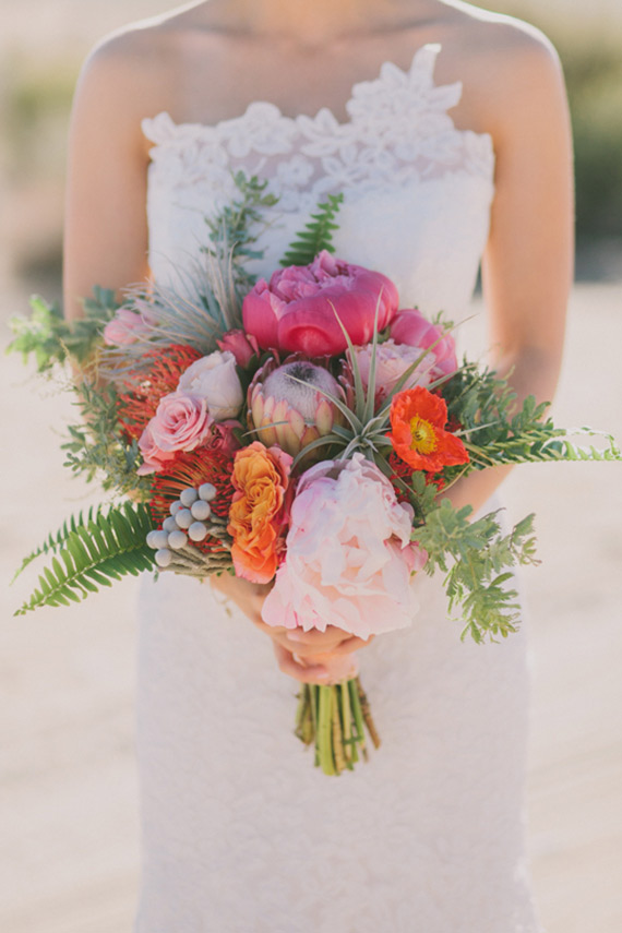 Michelle's bright n' deserty bouquet was featured on  100 Layer Cake's Best of 2014: Bridal Bouquets
