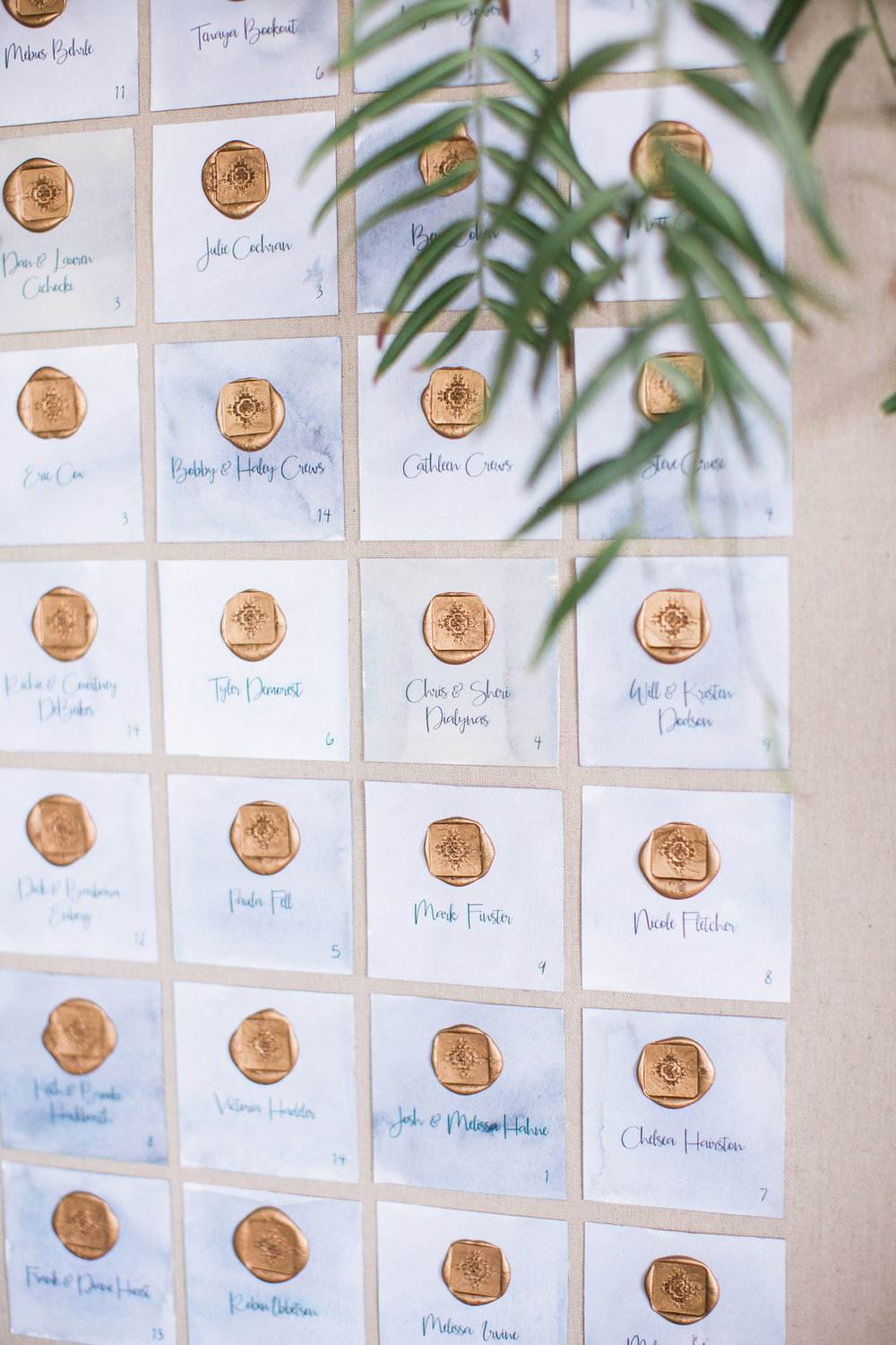 Wax stamp seating chart by Hello Gem Events