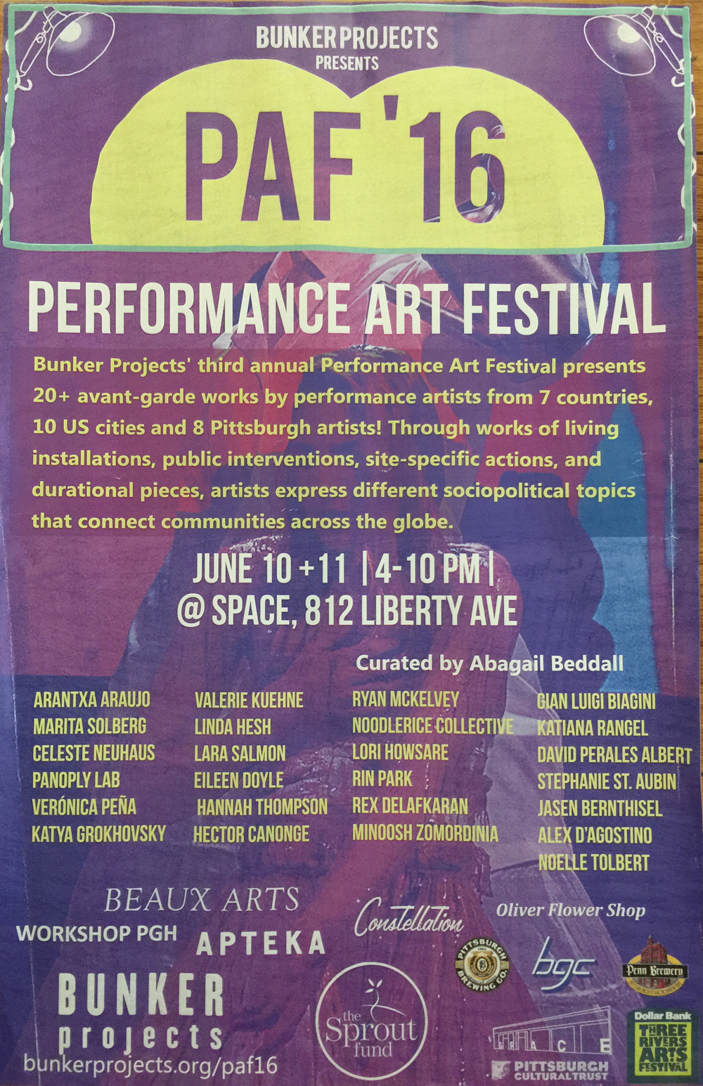 My Favorite Food - @PAF 16 (Performance Art Festival)by Bunker Project@Space Gallery, Pittsburgh PAJune 10-11