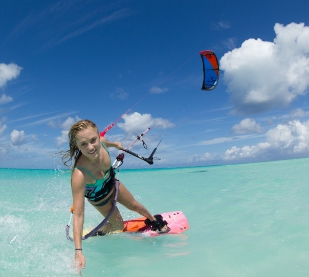Kitesurfing on Long Bay Beach