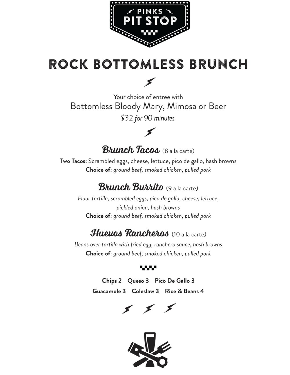 Pinks Brunch Menu
