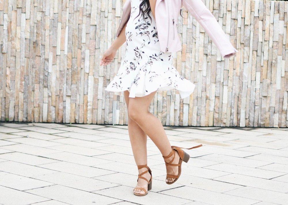 A Floral Drop Waist Dress + Pink Faux Leather Jacket