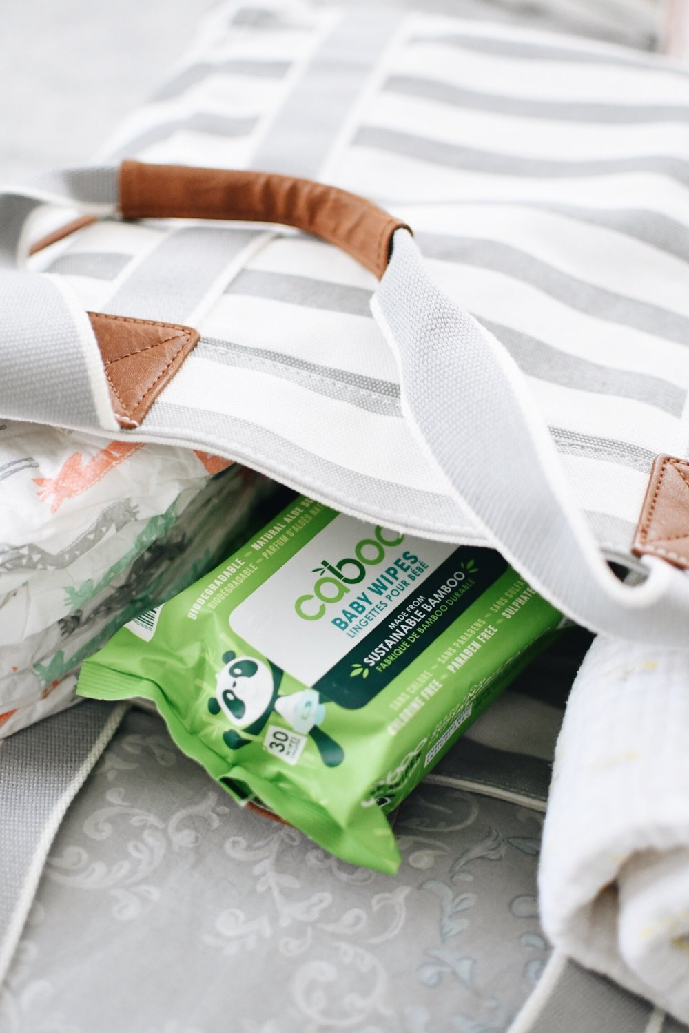 Newborn Diaper Bag Essentials with Caboo Products