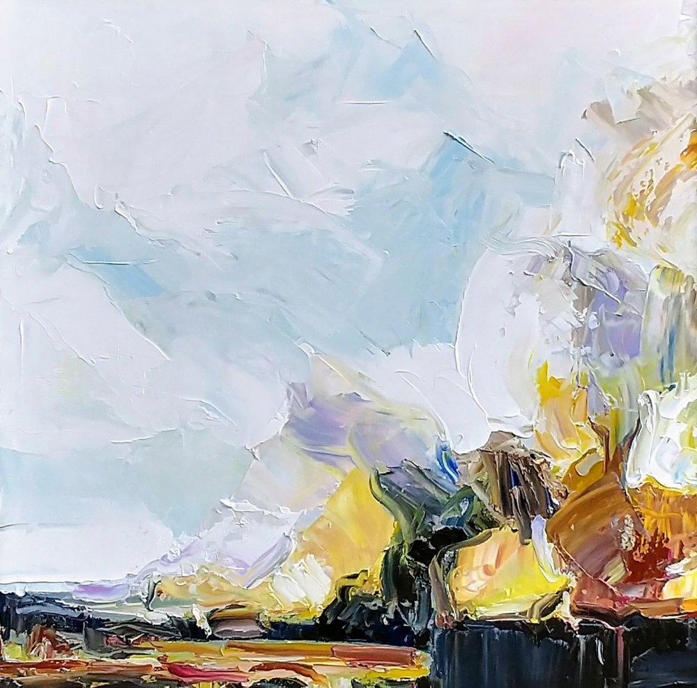 """Julie Devine,  Wildfire,  2017 Oil on canvas, 30 x 30"""""""