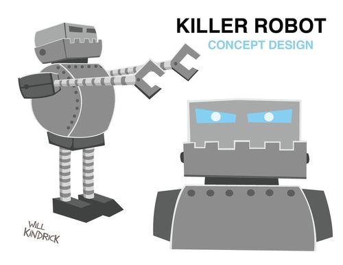 KILLER ROBOTS. Short film character concepts. Vector. 2010.