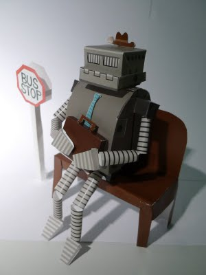 BUSINESS ROBOT.  Vector and paper.  2009.