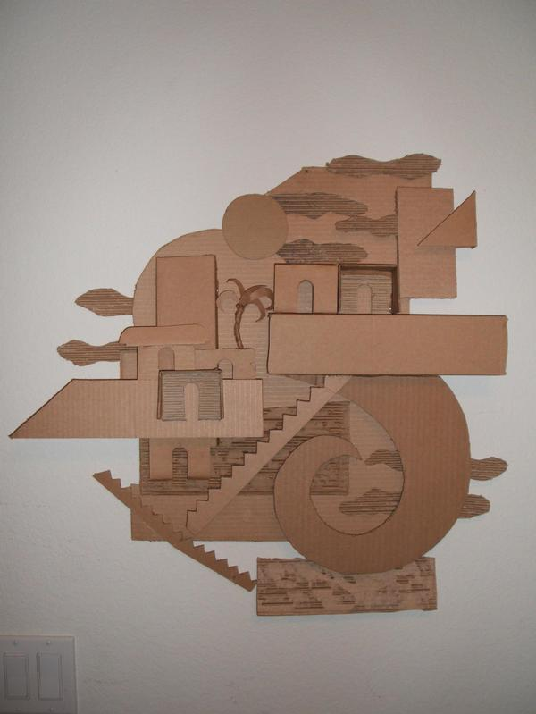 JAVAD VS. MUMMY SPACE ISLAND. Cardboard. 2005.