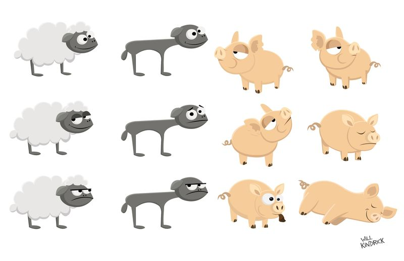 FARM GAME CHARACTERS.  Client: WEDGEKASE GAMES. Vector. 2010.