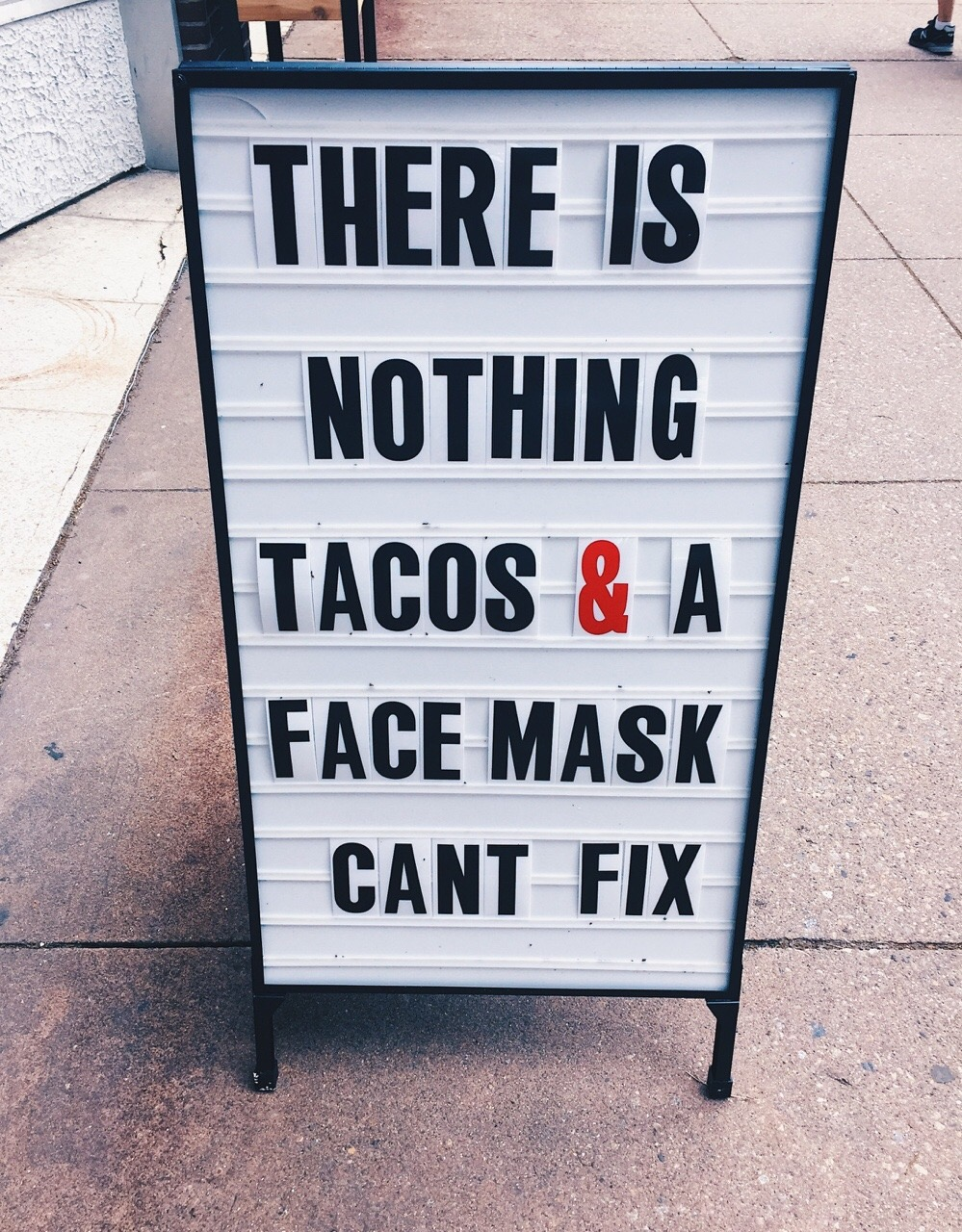 tacos and a face mask