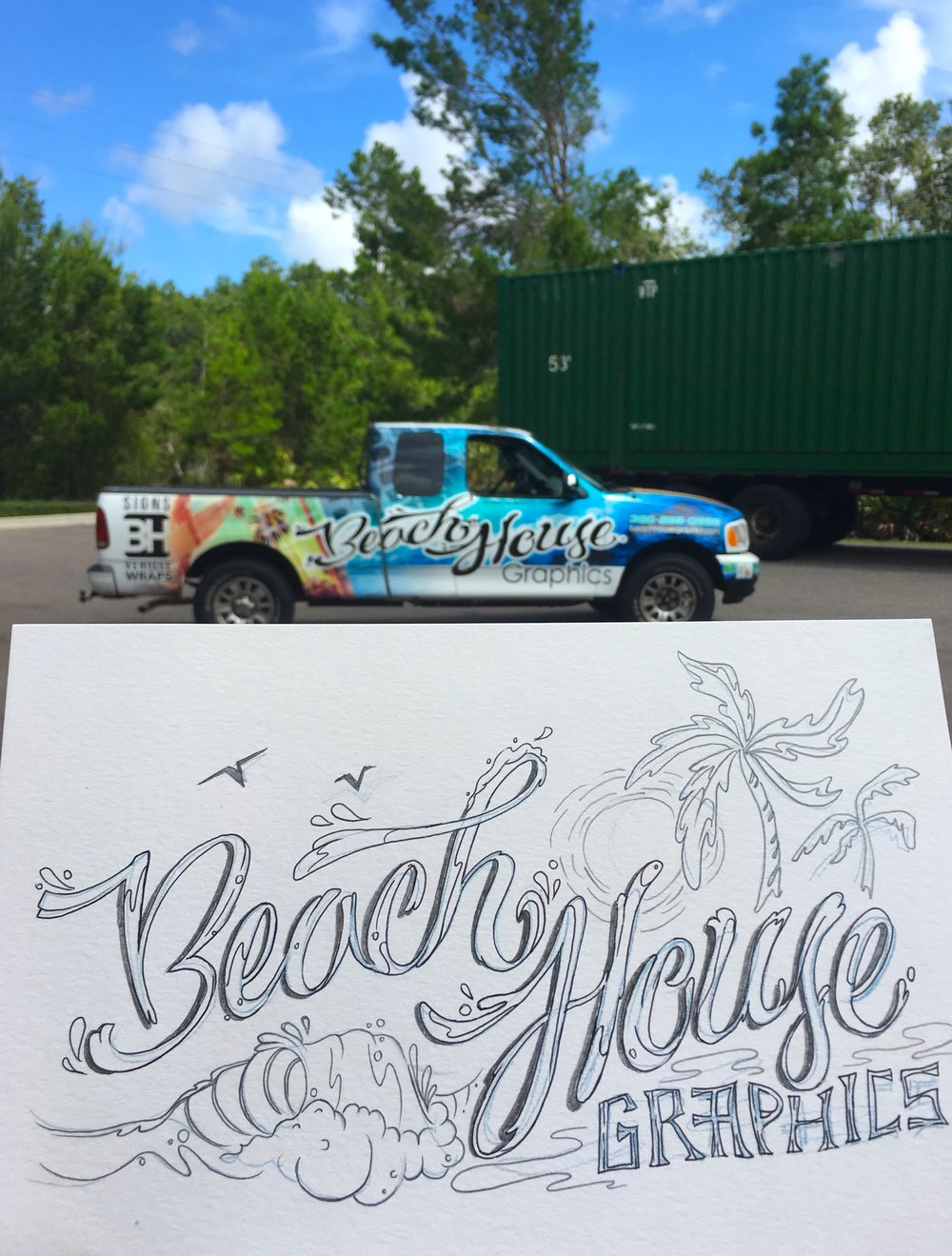 Lettering sketch by Jucel Meneses Vinyl wrap design by www.beachhousegraphics.com