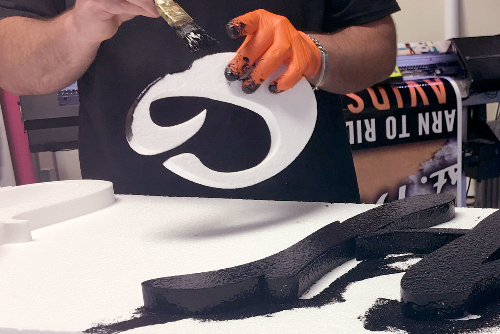 painting foam lettering