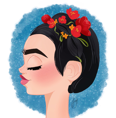 frida-kahlo-illustration-sticker-design