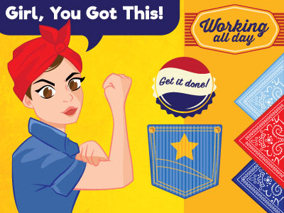 Rosie the Riveter Character and Stickers