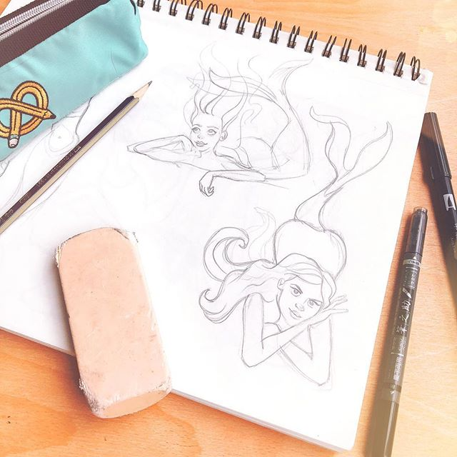 Start with what you are comfortable with: sometimes starting with a sketch is the best way to start the day, specially when emotional events are happening around.  Well, and I always love #mermaids  #sketching #pencildrawing #characterdesigner #illustrator