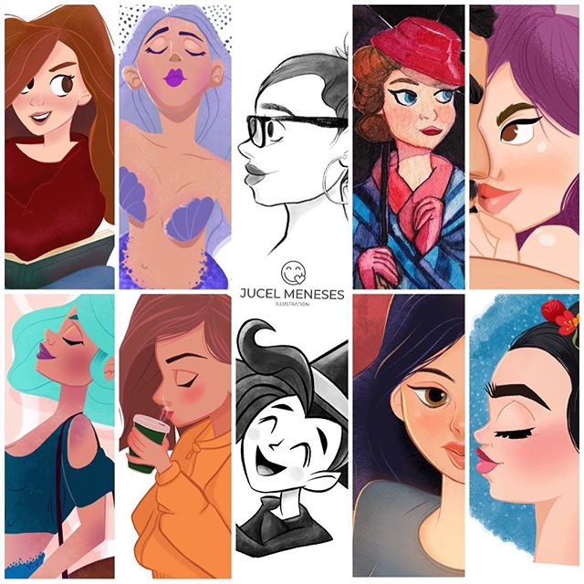 I thought a 5 x 2 format worked better for my #artvsartist2019 — I'm pleased to be able to see the evolution of my work, and where I seem to be going with it. I have been working really hard to polish my style while working design, so pretty soon I will be more consistent with sharing my process and behind the scene.  I've got something cute for Valentines... #characterdesign #sketching #procreate #illustratorsoninstagram