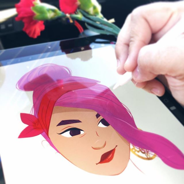 Happy Valentine's day! Im almost done with my Valentine inspired illustration... it's a special one that's good for all, not just the ones with a special someone today. Lately, working mobile from the car, it's the only time I get to work on my personal projects, in between school pickup lines, and laundry loads #workingmom #artistlife #characterdesign #procreate