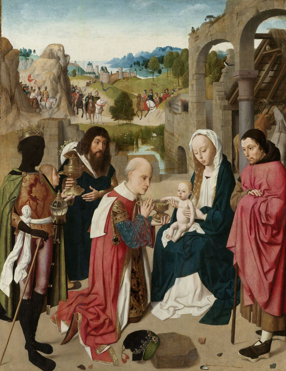 The Adoration of the Magi , Geertgen tot Sint Jans, c. 1480-c. 1485 (Image Courtesy of  The Rijks Museum ) I love this painting's content: new motherhood amidst a shifting and crumbling landscape.