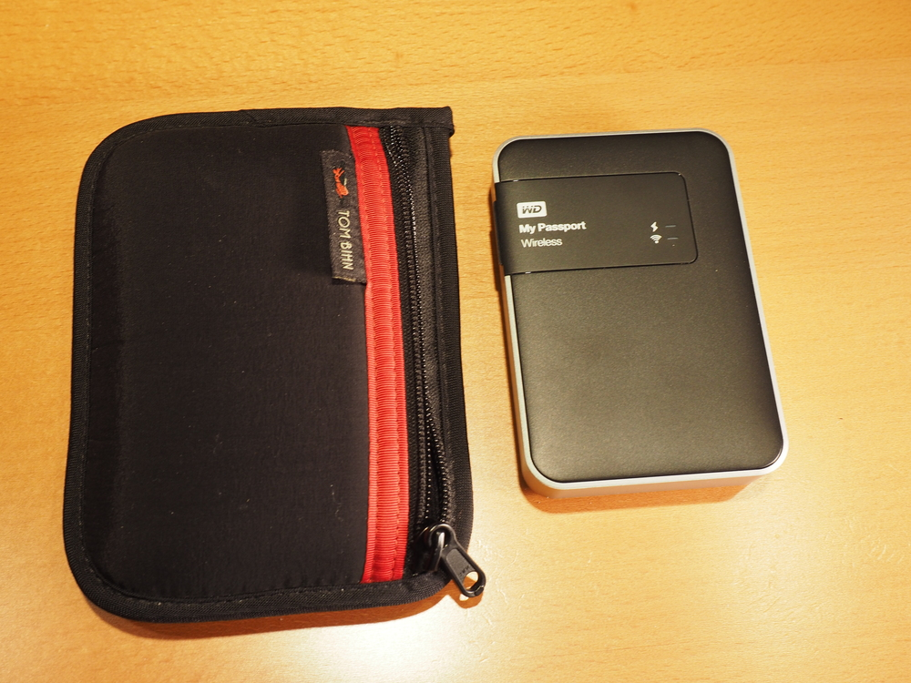 Tom Bihn padded pouch with the Western Digital My Passport Wireless Drive.