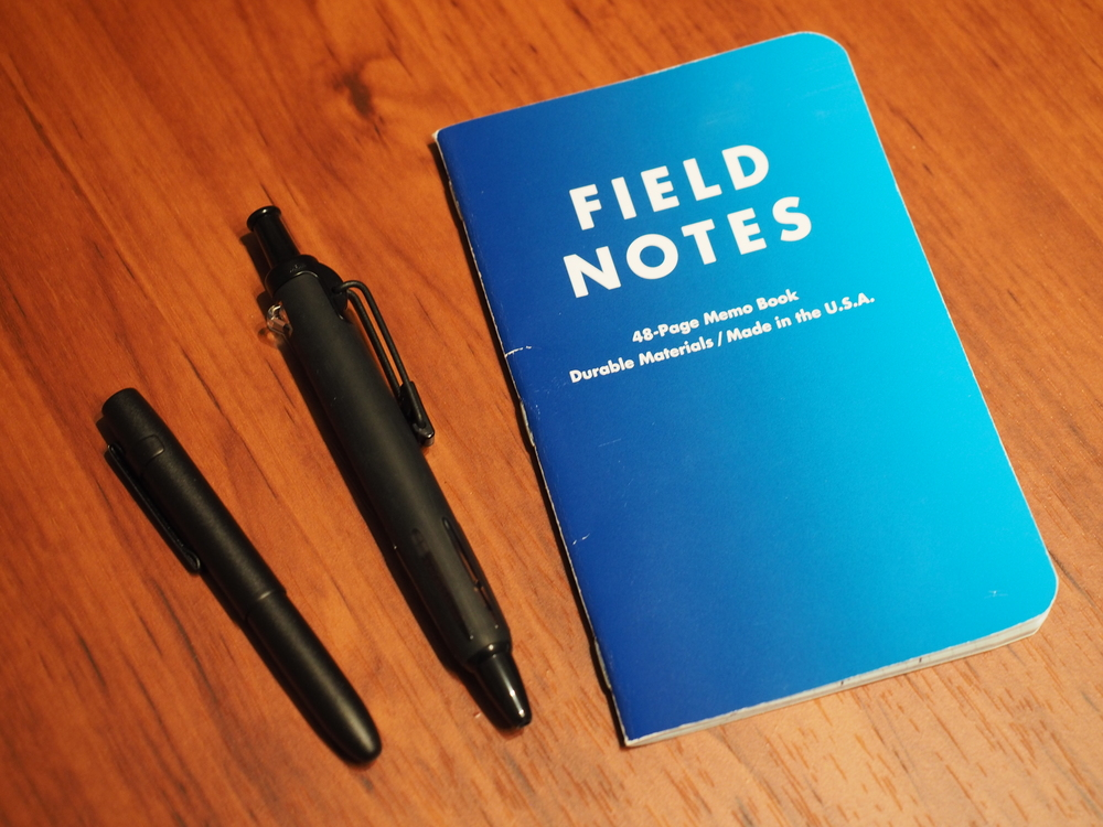 Field Notes Brand notebook, Fisher X-Mark Bullet Space pen, Tombow Airpress pen