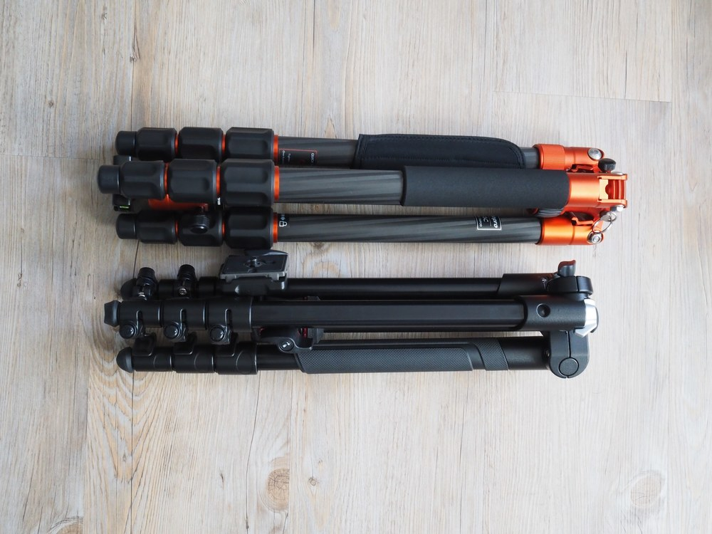The Fotopro and Manfrotto folded size comparison.  The Fotopro is at the top.