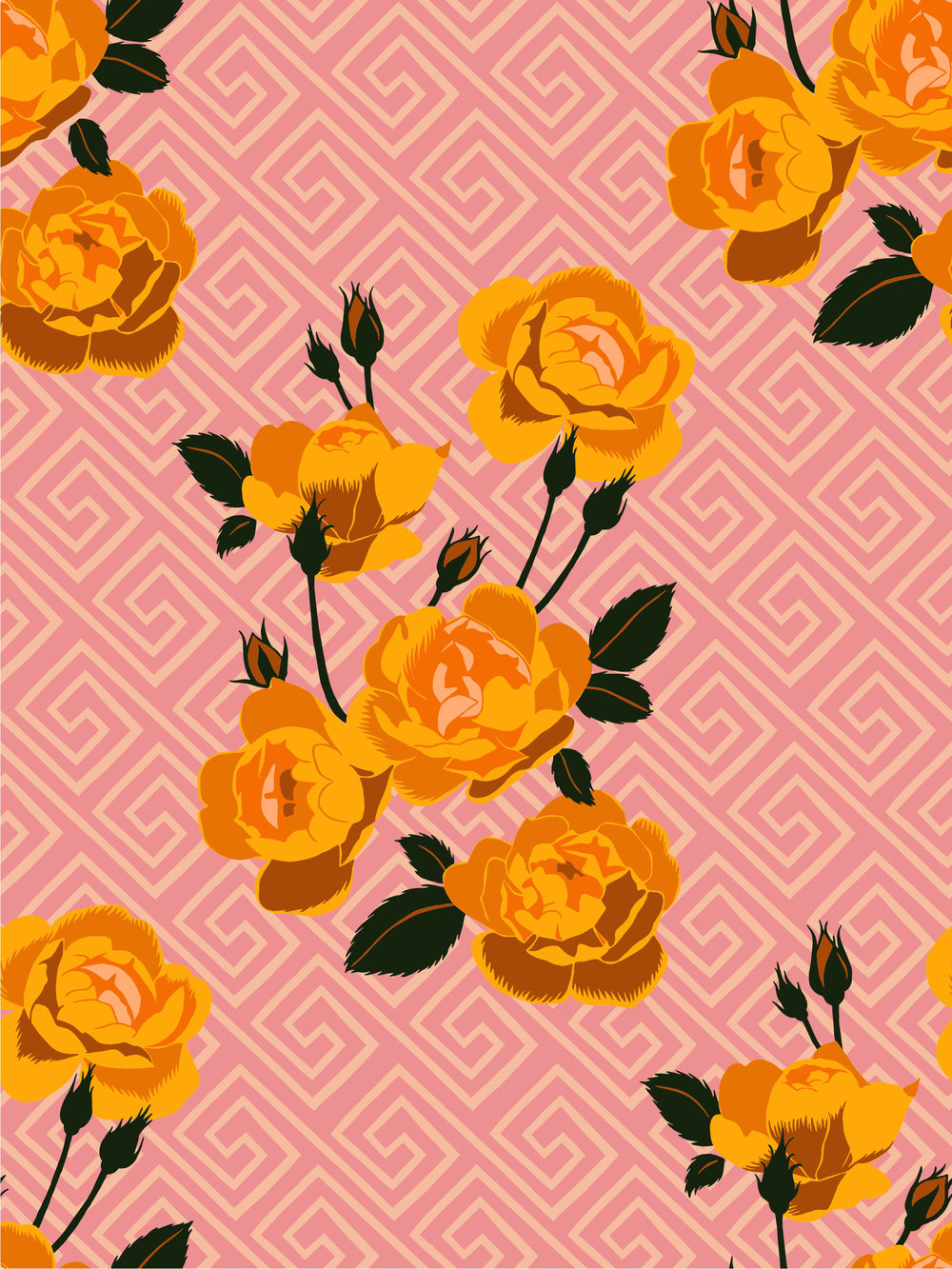 Kate Blairstone Greek Key & Roses