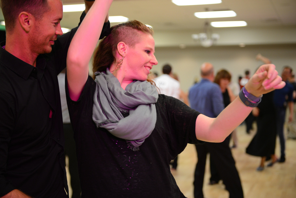 Amber Moore Wilkenloh dancing with Jared Fielding at Dance N Play 2015.