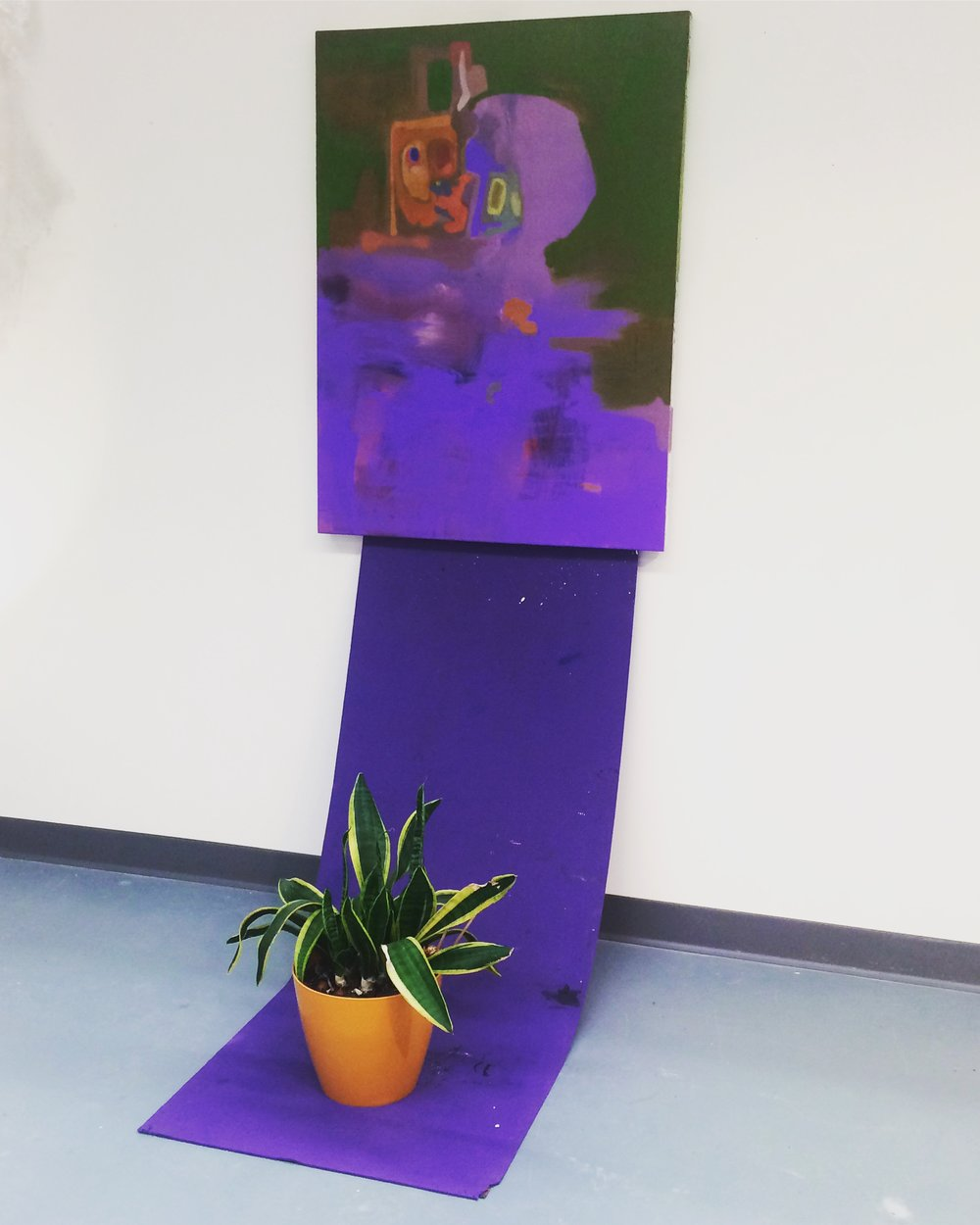 "Narcissus   4'x24""x18"" Acrylic on canvas, yoga mat, agave plant, orange pot"