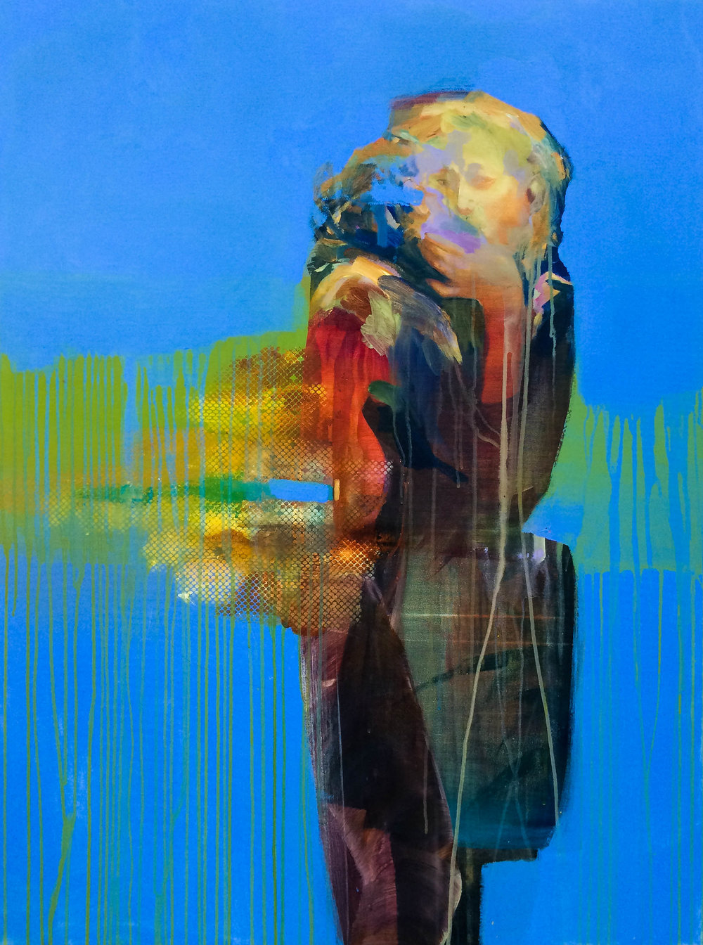 "Blue Crush / Yellow Fever     awake   48""x36"" Acrylic on canvas"