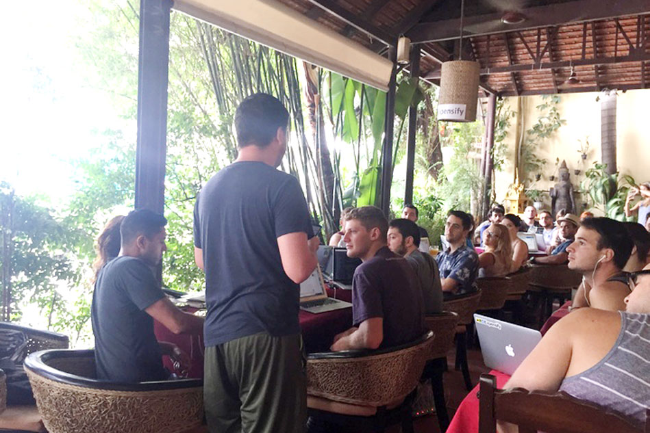 The team meets for the morning meeting in Phnom Penh on September 29th. Offshore is a great way to bond with the company and bring our spread out crew together in a foreign place!