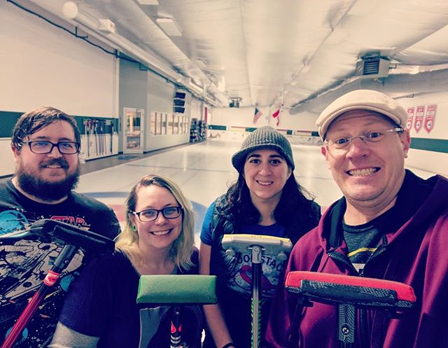 Some of the #expensifam spent Friday evening learning the great sport of curling 🥌. #beijing2022 here we come! #workhardplayhard #teambonding