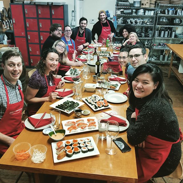 #tbt to our awesome #sushi making class with @pdxculinaryworkshop! Now to put that new office kitchen to use... #lovewhatyoudo #pdxtech #oneteamonedream #techjobs #werehiring #portland #workperks