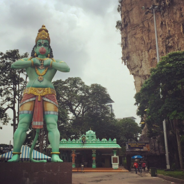 A statue of Hindu deity Hanuman stands tall at Batu Caves, which is over run by monkeys. Hanuman is also a monkey. Coincidence ...  or conspiracy?
