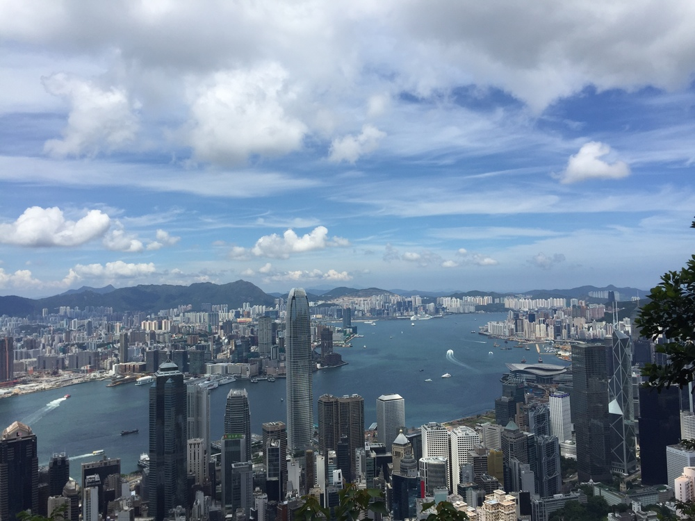 The view of Victoria Harbour from the top of Victoria Peak in Hong Kong