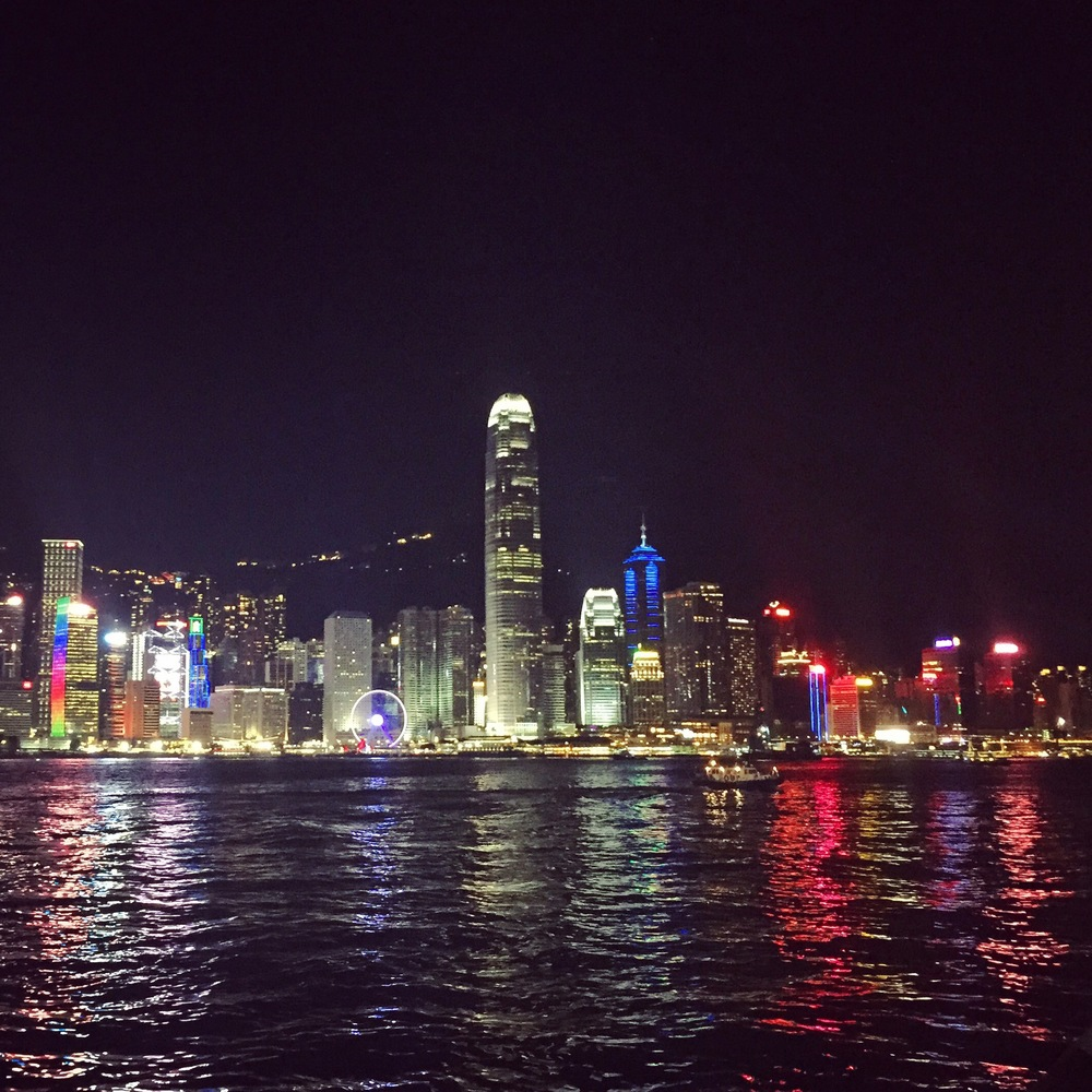 Hong Kong's impressive skyline at night, as seen from Kowloon