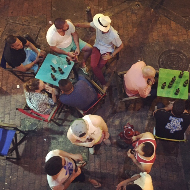 Looking down at the crowd from the second floor at Quiebra Canto in Cartagena, Colombia