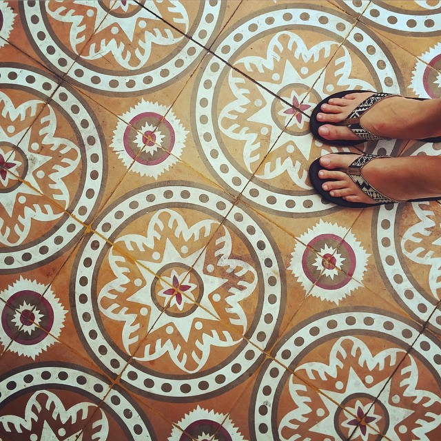 Tiles in Georgetown, Penang, Malaysia ... and some really dirty feet (mine)