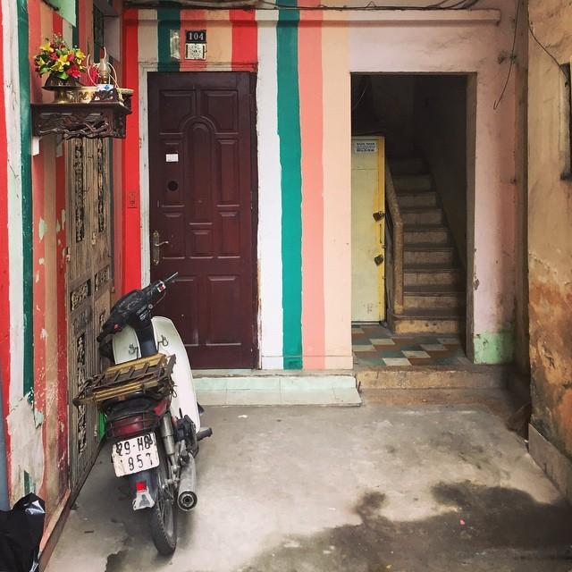 A colorful doorway in Hanoi, Vietnam