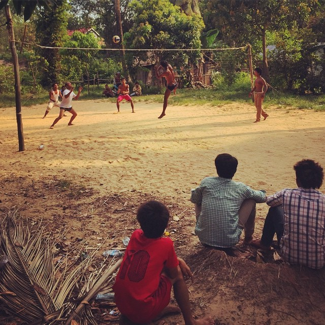 Folks from Damskal Village playing a little afternoon volleyball, Koh Rong, Cambodia
