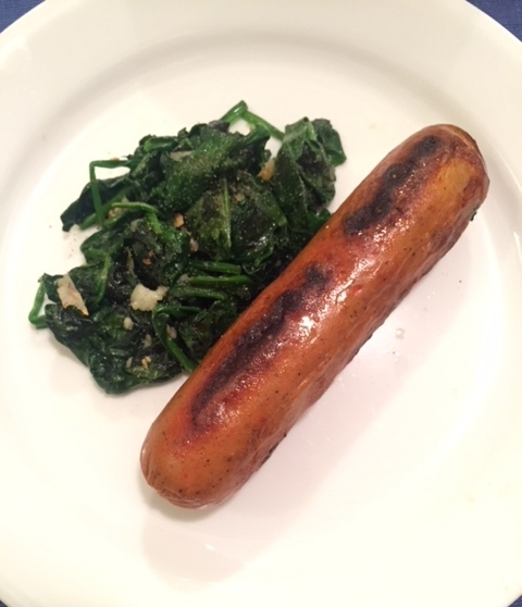 Sausage and sautéed spinach. Not as sad as it looks.