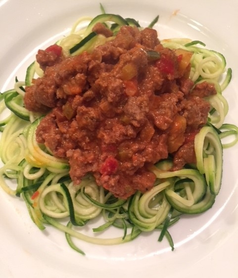 Beef bolognese and zucchini noodles. Yum!