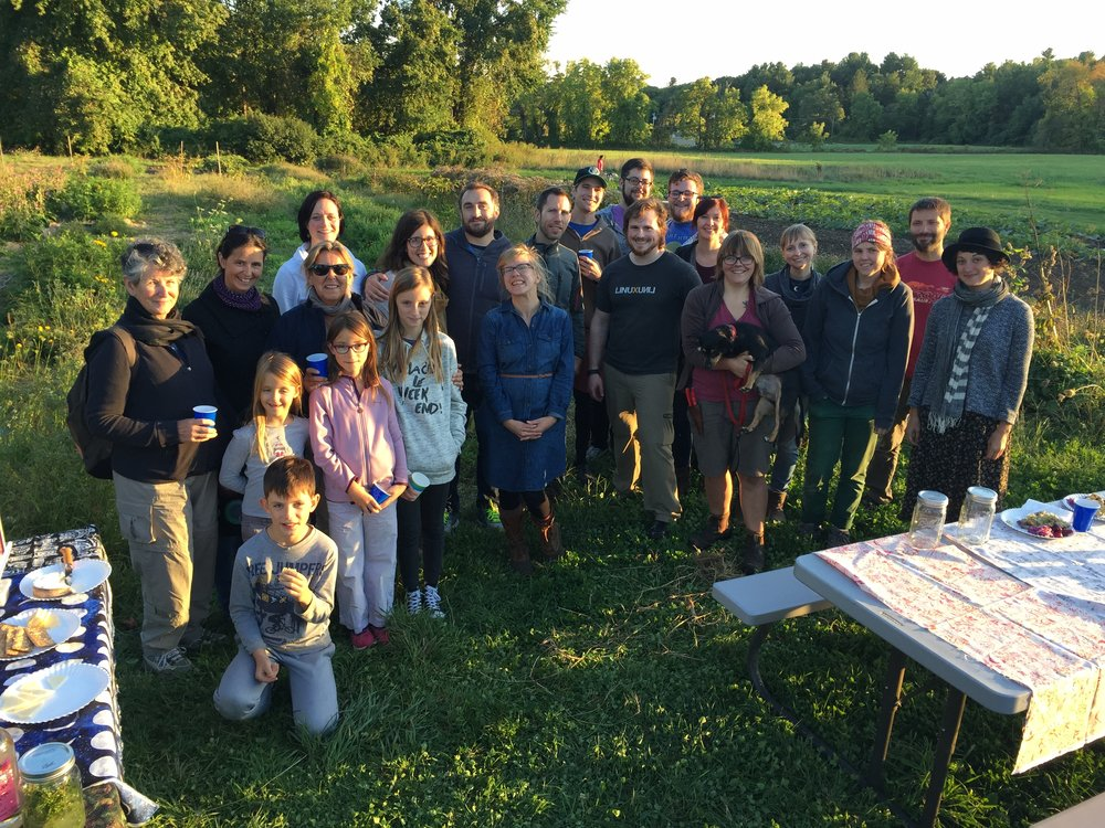 Jenny, Matt, and a few of our CSA members at the 2016 farm potluck.
