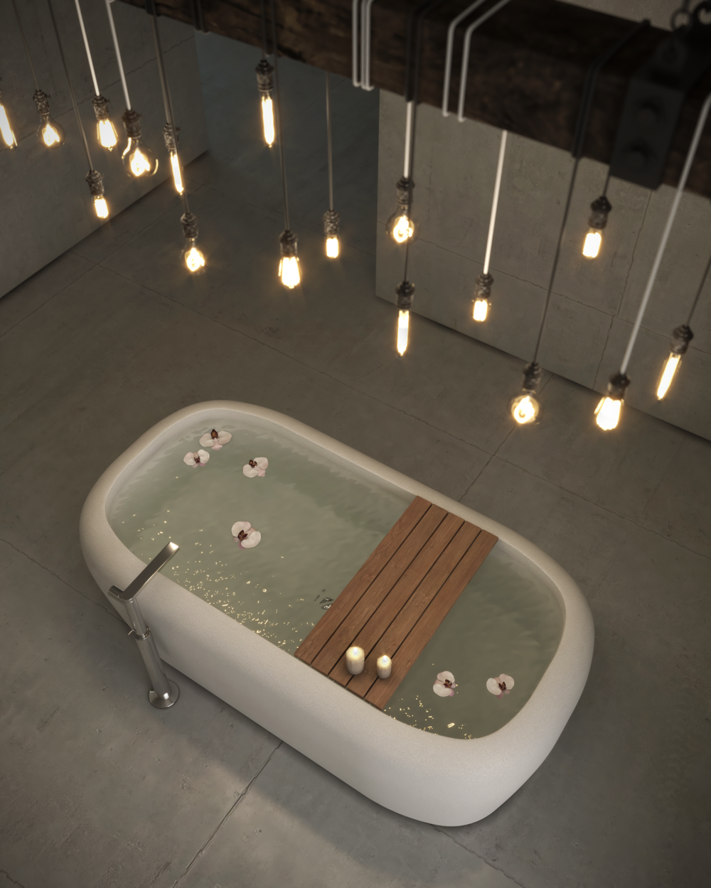 Concept bathroom to showcase bathtub product