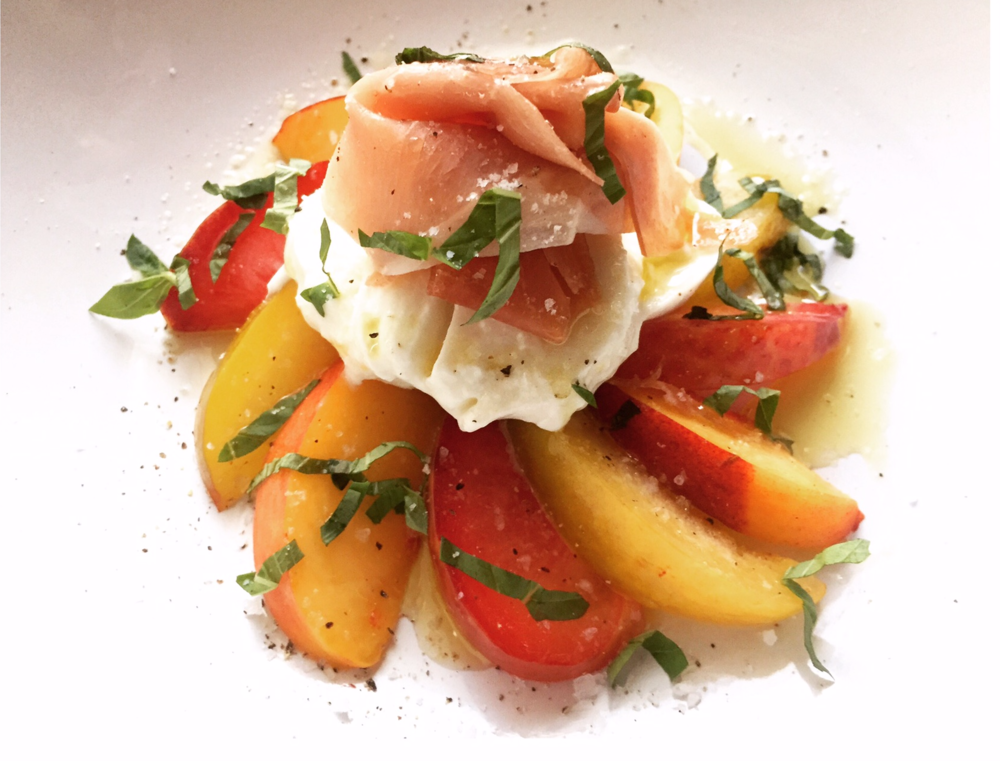 plum salad with mozzarella prosscuitto and basil