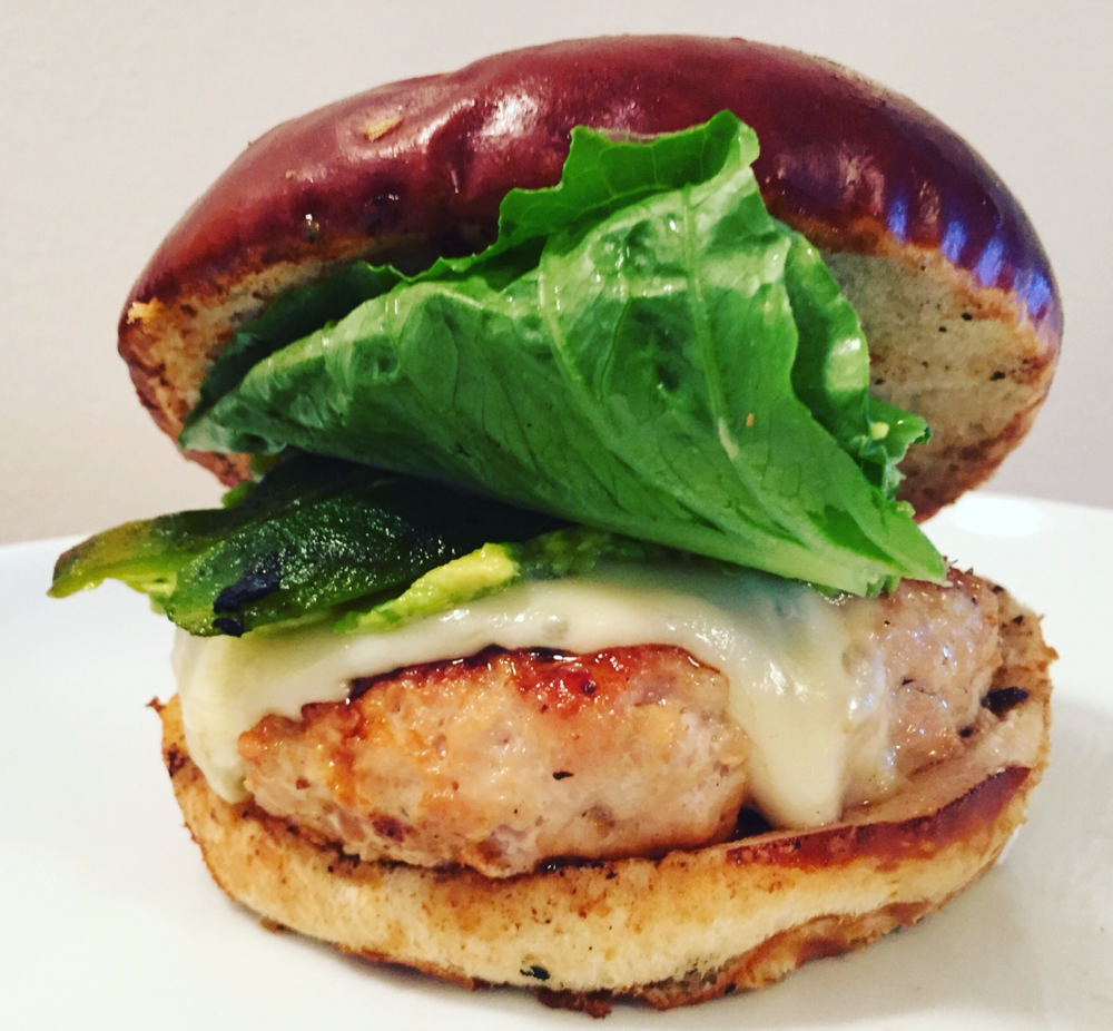 spicy pablano chili chicken burger