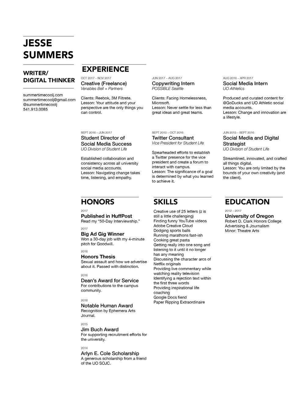 résumé jesse summers