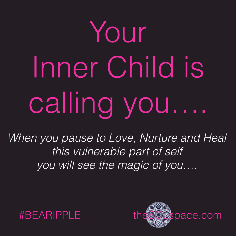 #BeARipple.. Your inner child is calling you...when you pause to love, nurture, and heal this vulnerable part of self you will see the magic of you @theSOLspace