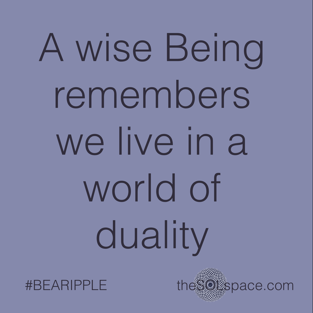 #BeARipple..a wise being remembers we live in a world of duality @theSOLspace